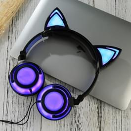 USB opladen opvouwbare Glowing kat Ear hoofdtelefoon Gaming Headset met LED licht & AUX kabel  voor iPhone  Galaxy  Huawei  Xiaomi  LG  HTC en andere slimme Phones(Black)