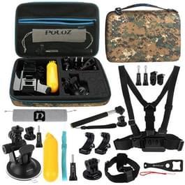 PULUZ 20 in 1 accessoires Combo Kit met Camouflage EVA geval (borstband + hoofd riem zuignap Mount + 3-weg zwenkarm + J-Hook gespen + uitschuifbare Monopod + statief Adapter + Bobber handgreep + tas + moersleutel) voor GoPro nieuwe held /HERO6 /5 /5 sessi