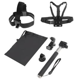 ST-143 6 in 1 Chest Strap (Type B) + Head Strap (Type B) + Monopod Pole + Tripod Adapter + J-shaped Bracket + Pouch for GoPro  NEW HERO /HERO6  / 5 /5 Session /4 /3+ /3 /2 /1(Black)