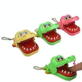 Mini krokodil Cayman tandarts spel mechanisch speelgoed sleutelhanger (Random Kleur levering)
