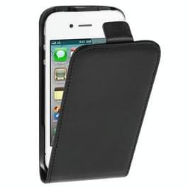 iPhone 4 & 4S vertikaal PU leren Flip Hoesje (zwart)