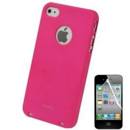 Moshi Plastic hoesje + Schermprotector voor iPhone 4 & 4S (hard roze)