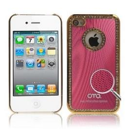 iPhone 4 & 4S met nep diamanten ingelegd Kunststof OMO back cover Hoesje (pruim rood)