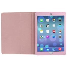 Litchi structuur Flip lederen hoesje met houder voor iPad Air    (roze)