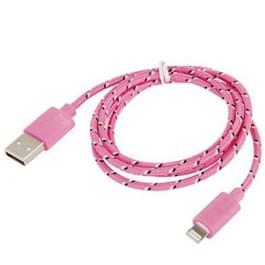 Geweven Nylon stijl USB 8 Pin Data Transfer / laad Kabel voor iPhone 6 / 6S & 6 Plus / 6S Plus, iPhone 5 & 5S & 5C, Lengte: 1 meter (roze)
