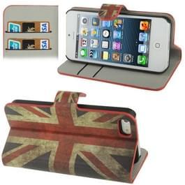 Retro UK vlag patroon horizontale Flip leren Case met Credit Card Slot & houder voor iPhone 5 & 5s & SE & SE