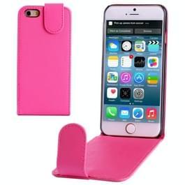 iPhone 6 & 6S vertikaal PU leren Flip Hoesje (hard roze)