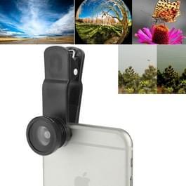F-018 5 in 1 universele 180 graad Fisheye-Lens met macrolens + 0 65 X breed Lens + CPL Lens + 2 X Telephoto Lens met Clip  voor iPhone  Galaxy  Lenovo  Sony  HTC  Huawei  Google  LG  Xiaomi  andere Smartphones(Black)