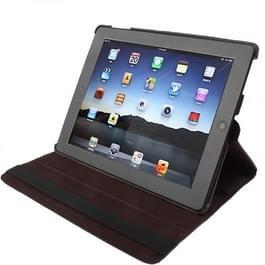 360 graden draaiend PU lederen hoesje met slaap / wekker functie & houder voor New iPad (iPad 3) / iPad 2 / iPad 4, Coffee(koffie kleur)