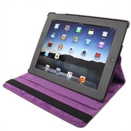 360 graden draaiend PU lederen hoesje met slaap / wekker functie & houder voor New iPad (iPad 3) / iPad 2, Dark Paars