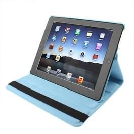 360 graden draaiend PU lederen hoesje met slaap / wekker functie & houder voor New iPad (iPad 3) / iPad 2, Baby blauw