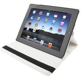 360 graden draaiend PU lederen hoesje met slaap / wekker functie & houder voor New iPad (iPad 3) / iPad 2 / iPad 4, (wit)wit