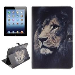 Lion patroon lederen draagtas met houder & Card Slots & portemonnee voor iPad 4 / nieuwe iPad (iPad 3) / iPad 2