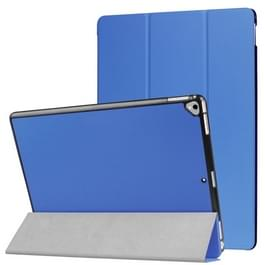 Custer Texture Horizontal Flip Smart Leather Case with 3-folding Holder for iPad Pro 12.9 inch with Sleep / Wake-up Function(Blue)