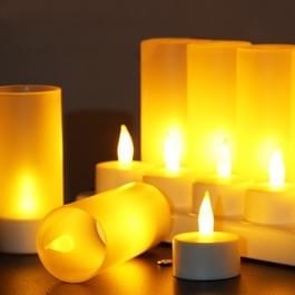 12 stuks vlamloze LED waxinelicht Flicker Candle Light  oplaadbare huisdecoratie licht met laadkabels Board