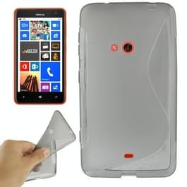 Nokia Lumia 625 Transparant anti-slip S-vormig Frosted structuur TPU back cover Hoesje (grijs)