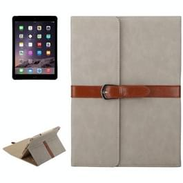 Bussiness stijl horizontaal flip lederen draagtas met 2-vouwen houder & gesp voor iPad mini 3 / 2 / 1 (lichtgrijs)