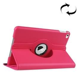 Litchi textuur 360 graden roterende Smart lederen draagtas met houder voor iPad mini 4(Magenta)