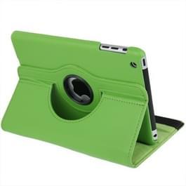 360 graden draaiend lederen hoesje met houder voor iPad mini 1 / 2 / 3 (groen)