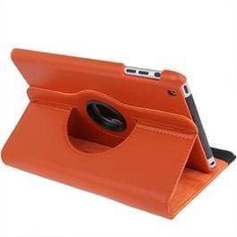 360 graden draaiend lederen hoesje met houder voor iPad mini 1 / 2 / 3 (Oranje)