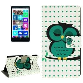 Uil patroon lederen hoesje met houder & opbergruimte voor pinpassen & portemonnee voor Nokia Lumia 930