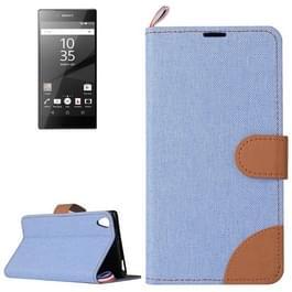 Sony Xperia Z5 Premium / Plus horizontaal Tweekleurig Jeans structuur PU leren Flip Hoesje met houder  magnetische sluiting en opbergruimte voor pinpassen (blauw)