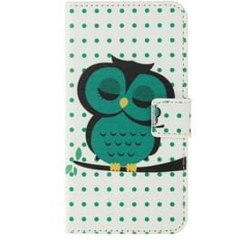 Uil patroon Flip lederen hoesje met houder & opbergruimte voor pinpassen & portemonnee voor Samsung Galaxy S6 / G920