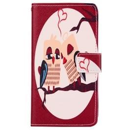 LG G3 Stylus / D690 horizontaal Uilenpaartje patroon PU leren Flip Hoesje met houder en opbergruimte voor pinpassen & geld