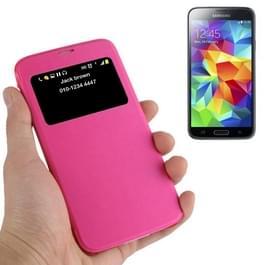 horizontaal Flip lederen hoesje met Oproepweergave ID voor Samsung Galaxy S5 / G900(hard roze)