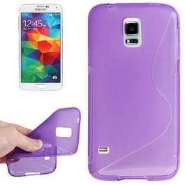Samsung Galaxy S5 / G900 anti-slip S-vormig beschermend TPU back cover Hoesje (paars)