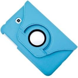 360 graden draaibaar Lichi structuur lederen hoesje met houder voor Samsung Galaxy Tab 3 (7.0) / P3200 / P3210(blauw)