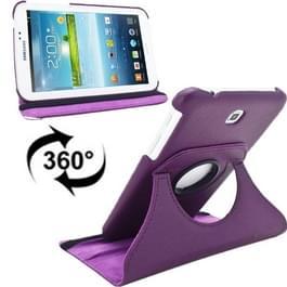 360 graden draaibaar Lichi structuur lederen hoesje met houder voor Samsung Galaxy Tab 3 (7.0) / P3200 / P3210(paars)