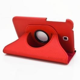 360 graden draaibaar Lichi structuur lederen hoesje met houder voor Samsung Galaxy Tab 3 (7.0) / P3200 / P3210(rood)
