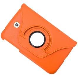 360 graden draaibaar Lichi structuur lederen hoesje met houder voor Samsung Galaxy Tab 3 (7.0) / P3200 / P3210(Oranje)