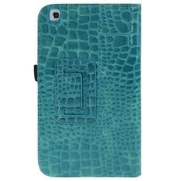 krokodil structuur lederen hoesje met houder voor Samsung Galaxy Tab 3 (8.0) / T3100 / T3110 (Turquoise)