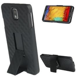 180 graden draaibaar plastic hoesje + plastic back cover met riemclip & standaard voor samsung galaxy note iii / n9000 (zwart)