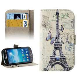 Butterfly and Eiffel Tower Pattern Protective Leather Case with Credit Card Slots & Holder for Galaxy Trend Lite / S7390