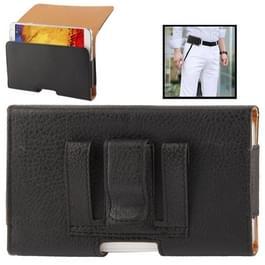 litchi structuur wallet style lederen hoesje met riemclip voor samsung galaxy note iii / n9000 / n7100  (zwart)