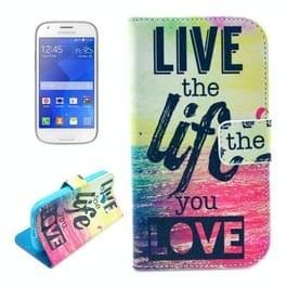 LIVE het leven You LOVE patroon horizontaal spiegelen lederen hoesje ontmoette Card Slots & portemonnee & houder voor Samsung Galaxy Ace Style LTE / G357