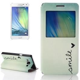 GLIMLACH patroon Flip lederen hoesje ontmoette houder & Caller ID venster voor Samsung Galaxy A5 / A500