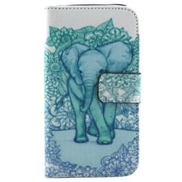 Samsung Galaxy Ace Style LTE / G357 horizontaal Blauw groen olifant patroon PU leren Flip Hoesje met houder en opbergruimte voor pinpassen & geld