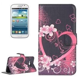 Samsung Galaxy J5 / J500 horizontaal LOVE hartjes bloemen patroon PU leren Flip Hoesje met houder en opbergruimte voor pinpassen & geld