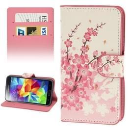 Kersen bloesem patroon lederen hoesje met opbergruimte voor pinpassen opberg vakjes & houder voor Samsung Galaxy S5 / G900
