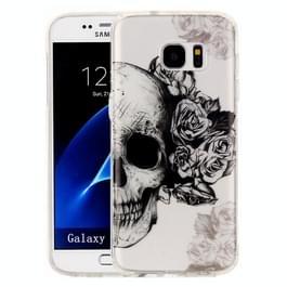 Samsung Galaxy S7 Edge / G935 Glossy zwart wit doodskop patroon TPU back cover Hoesje