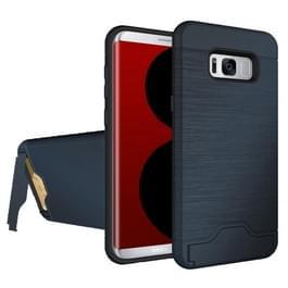 63ed6e18de9 Samsung Galaxy S8 Geborstelde structuur TPU + kunststof back cover Hoesje  met houder en opbergruimte voor