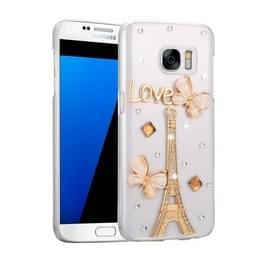 Samsung Galaxy S7 / G930 met nep diamanten ingelegd Eiffeltoren patroon Kunststof Fevelove back cover Hoesje