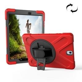 Voor Galaxy Tab S3 9 7 inch T820 360 graden rotatie PC + siliconen beschermhoes met houder & Hand-band (rood)