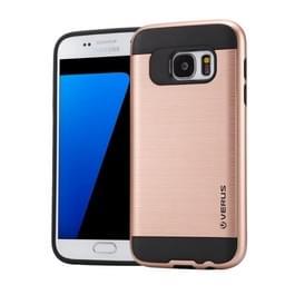 Samsung Galaxy S7 / G930 Geborstelde structuur TPU + kunststof VERUS back cover Hoesje (roze goudkleurig)
