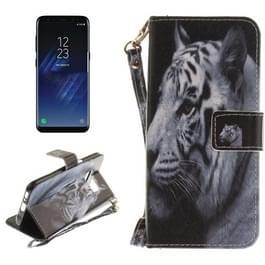 Samsung Galaxy S8 horizontaal Witte tijger patroon PU leren Flip Hoesje met draagriem  houder en opbergruimte voor pinpassen & geld