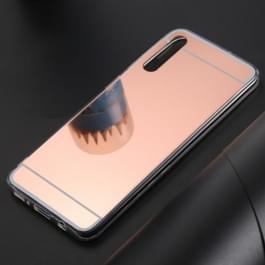 Ultradunne galvaniseren spiegel acryl TPU beschermende back cover Case voor Galaxy A50 (Rose goud)